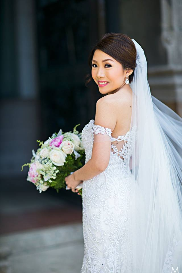 wedding bouquet and wedding gown