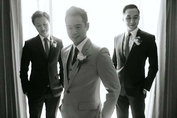 Groom and his best men with their boutonnieres