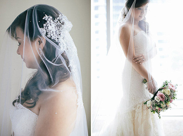 Wedding veil details and wedding flowers